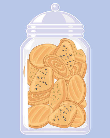 an illustration of a glass jar full of spicy indian biscuits on a light blue background 矢量图像