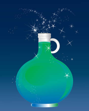 an illustration of a glass container filled with a magic potion for spells on a dark blue background Illustration