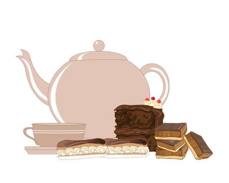 an illustration of an english afternoon tea presentation with teapot cup and saucer eclairs chocolate sponge cake and caramel shortbread on a white background