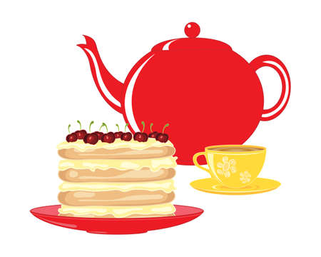 an illustration of a red teapot with bright yellow decorated tea cup and a beautiful cherry layer cake on a white background