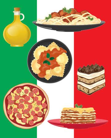 Una ilustración de la deliciosa comida asociada con Italia, que incluye espaguetis, ravioles, pizza, aceite de oliva, lasaña, y pastel de tiramisú, sobre un fondo de bandera italiana Ilustración de vector