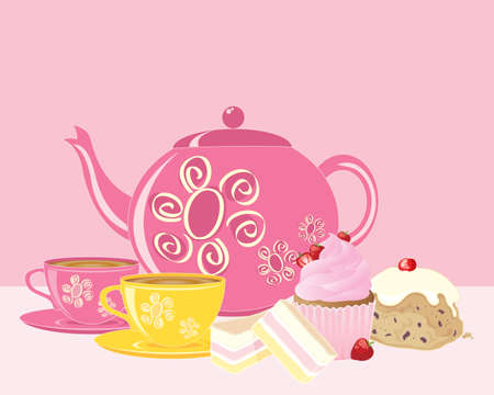 an illustration of an afternoon tea with a pink theme including teapot and cups delicious cakes and a baby pink tablecloth