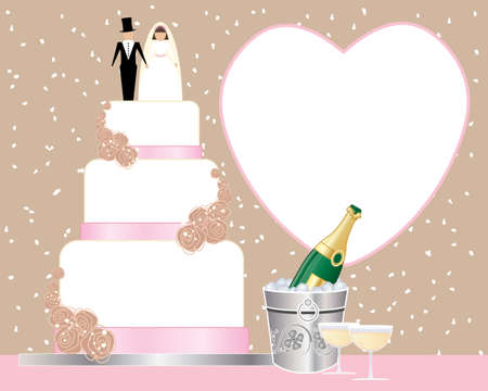 an illustration of a wedding tea celebration with wedding cake champagne bucket and champagne glasses on a confetti background