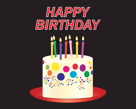 an illustration of a colorful decorated birthday cake with lighted candles on a red plate on a black background