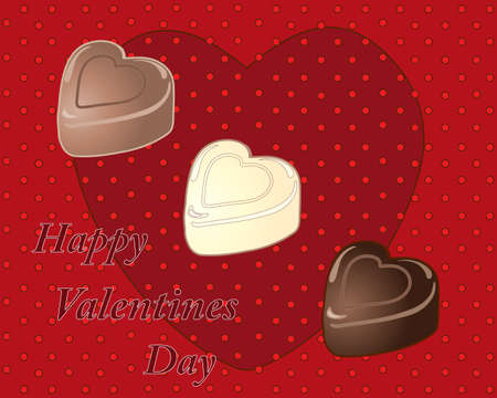 an illustration of a valentines day greeting card with heart shaped chocolates in milk dark and white flavors on a red background