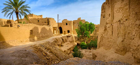 futility: The street in the pise-walled village of Iran, passes around old fortress, on the other hand high clay fences behind which are visible palm trees