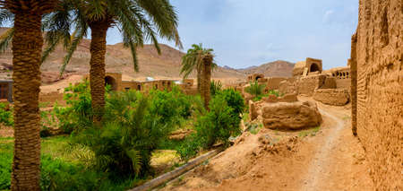 other side of: the street in the pise-walled village, houses from a  unburnt brick, on other side a palm garden, on a mountain background