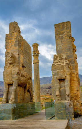 columns and bas-reliefs the Persian kingdom which has remained on the place of the ancient Persepolis, the dreena, Alexander of Macedons gain