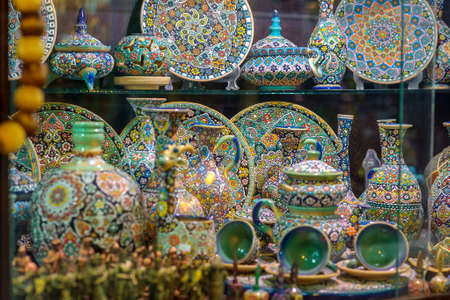 beautiful, gracefully executed ware, delicate laborious work, bright multi-colored coloring of ware