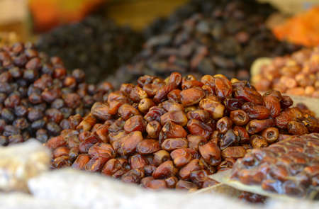 dates on a counter, in the market to Morocco, fresh dried fruits