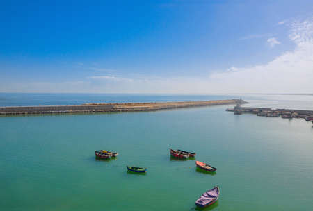 fishing boats standing in the harbor of the Moroccan city of Rabat Stock Photo