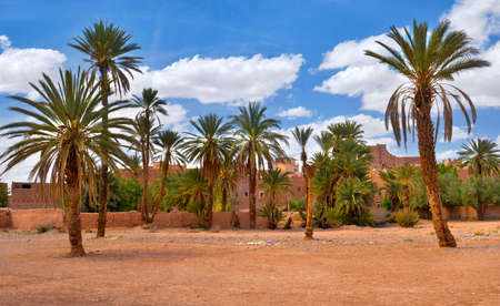 old traditional pise-walled village in Morocco Stock Photo