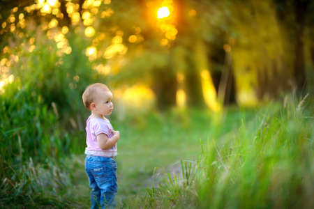 considers: little girl walks in the beautiful park at sunset, attentively with interest considers everything around, bright sunshine light a glade