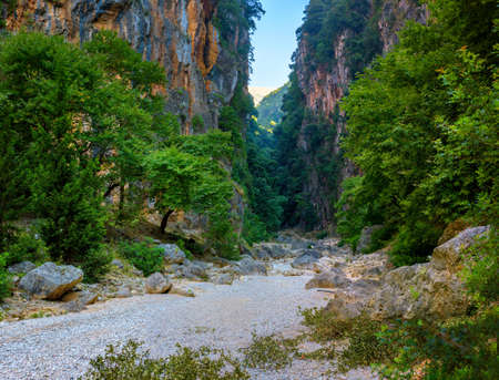 Canyon on the river of the Guppy, the river has completely dried up, Albania