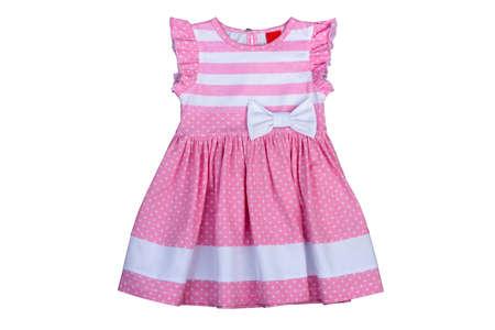 Ropa Para Niños Un Vestido Rosa Para Niñas Aisladas Sobre Fondo Blanco