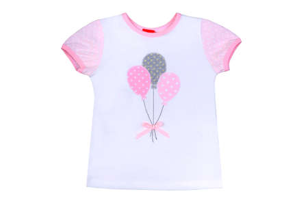 clothes for kids isolated on a white background, an undershirt with the drawing for girls