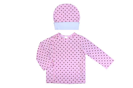 baby stuff: clothes for kids the isolated on a white background, childrens babys undershirt together with a hat
