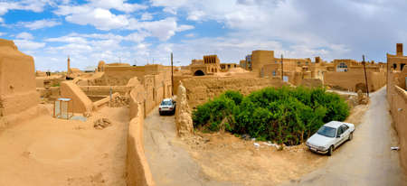 View from a roof on a historical part of the city of Meybod, stry pise-walled constructions