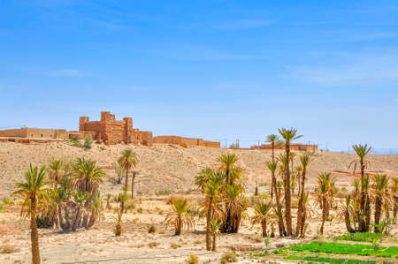 old clay villages of Morocco, desert part of the country, palm oases