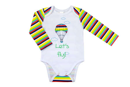 clothes for newborns isolated on a white background, childrens baud with the drawing and bright multi-colored sleeves