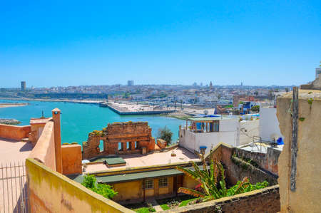 View from a roof on a bay and the city of Rabat in sunny day, Morocco 스톡 콘텐츠