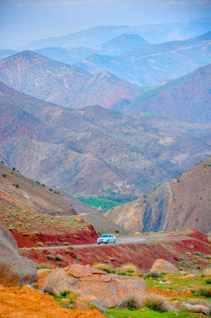 road in the mountains of Morocco, the mountain of the high atlas, the soil of beautiful saturated shades