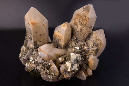 Mineral Quartz - silicon oxide. One of the most widespread minerals in the world. Stock Photo