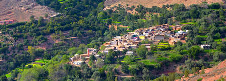 adobe village in the mountains of the Atlas of Morocco Stock Photo