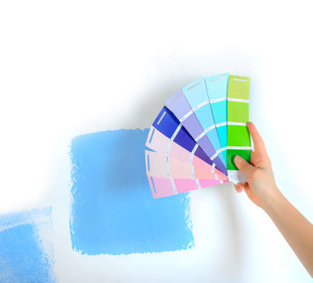 room design, multi-colored paint samplers isolated on white background