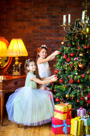 two beautiful girls in dresses, decorate balls with a festive Christmas tree