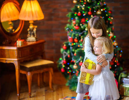 Christmas morning, two sisters give gifts and cuddles standing near a Christmas tree  Standard-Bild