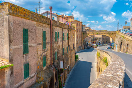 Street in a medieval town in Tuscany. Pitigliano. Italy Stock Photo