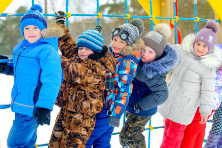 fun friends play at the winter playground