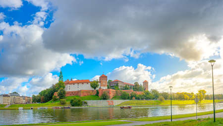 Panorama of the royal castle in the medieval city of Krakow at sunrise Stock fotó