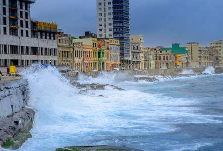 storm on the waterfront in Havana, Cuba Stock Photo