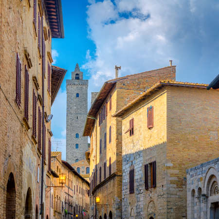 Street lights and a towers in the beautiful medieval city of San Gimmignano, Tuscany. Italy. Europe