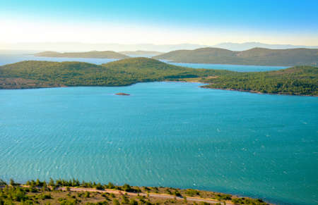 a view of the Mediterranean coastline, Greek islands, a lot of bays and bays. Stock Photo