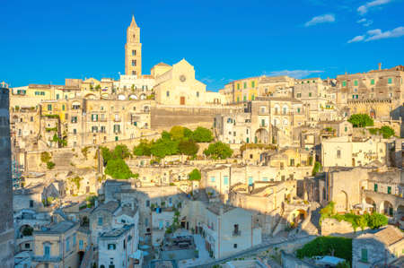 Panorama of the majestic medieval town of Matera on a beautiful sunset, Italy. Europe 版權商用圖片