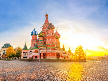 Moscow, Red Square, Panorama of St. Basil's Cathedral at dawn, nobody