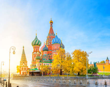 Moscow, panorama of St. Basil's Cathedral at bright sunset, tourist attractions of Russia Stok Fotoğraf
