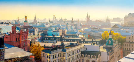 Panorama from above of evening Moscow, Moscow Kremlin and temples of the city. Russia
