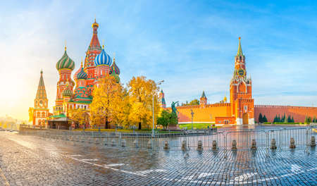 Moscow sights, view of Moscow Kremlin and St Basil's Cathedral on Red Square on a beautiful autumn morning. Russia