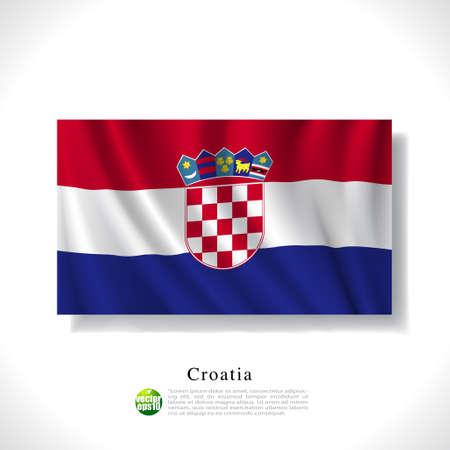 croatia flag: Croatia waving flag isolated against white background, vector illustration