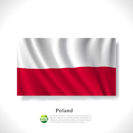 polish flag: Poland waving flag isolated against white background, vector illustration