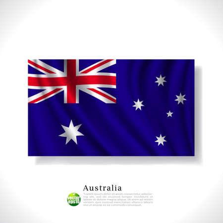 australia flag: Australia waving flag isolated against white background, vector illustration
