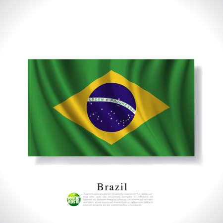 Brazil waving flag isolated against white background, vector illustration  Vector