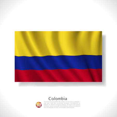 colombia flag: Colombia waving flag isolated against white background, vector illustration
