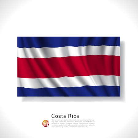 bandera de costa rica: Costa Rica bandera ondeando aislados sobre fondo blanco, ilustración vectorial