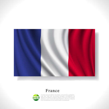 flag french icon: France waving flag isolated against white background, vector illustration