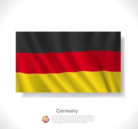 waving flag: Germany waving flag isolated against white background, vector illustration